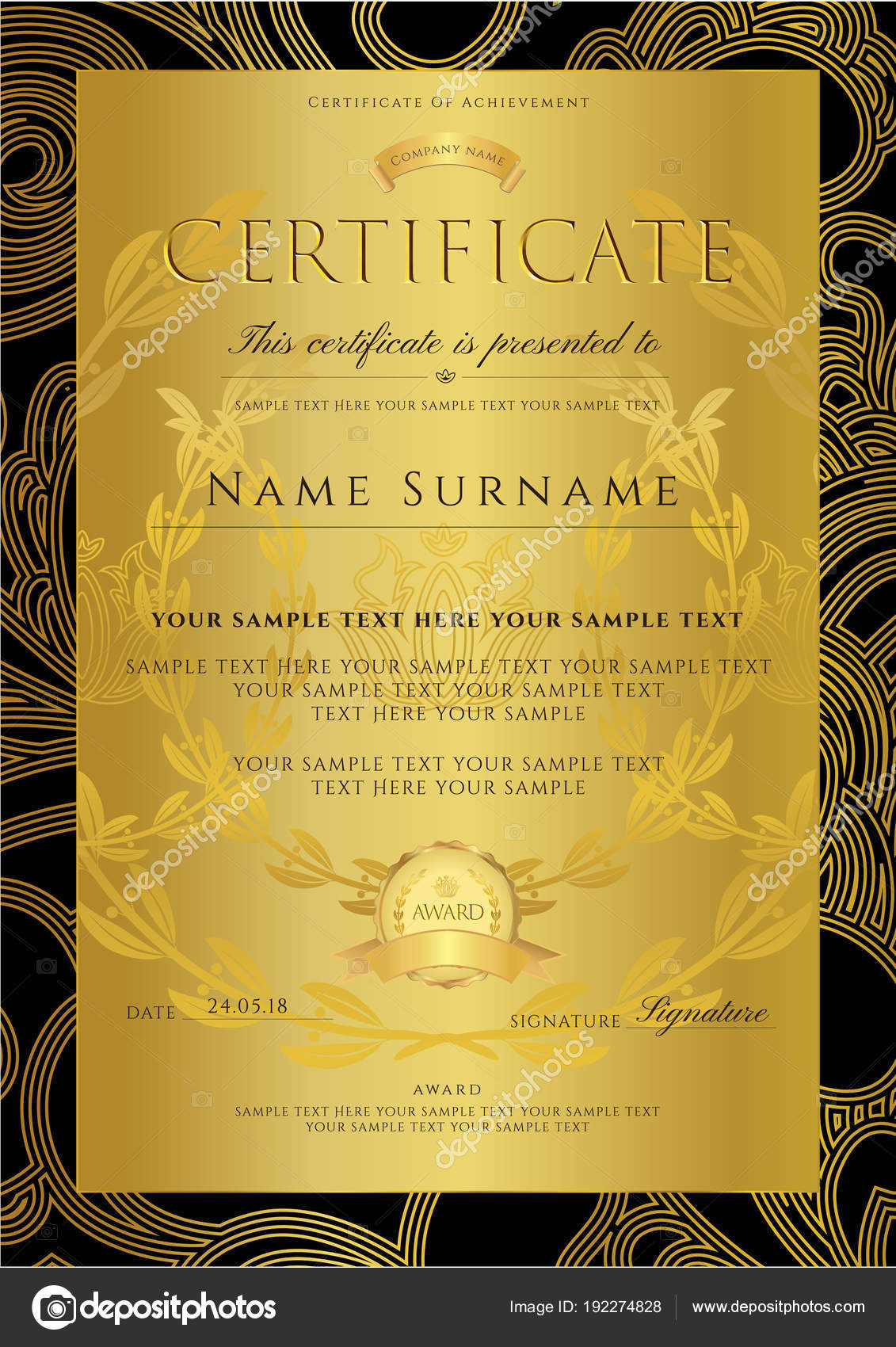 Certificate diploma golden design template background floral certificate diploma golden design template background floral filigree pattern scroll stock vector stopboris Image collections