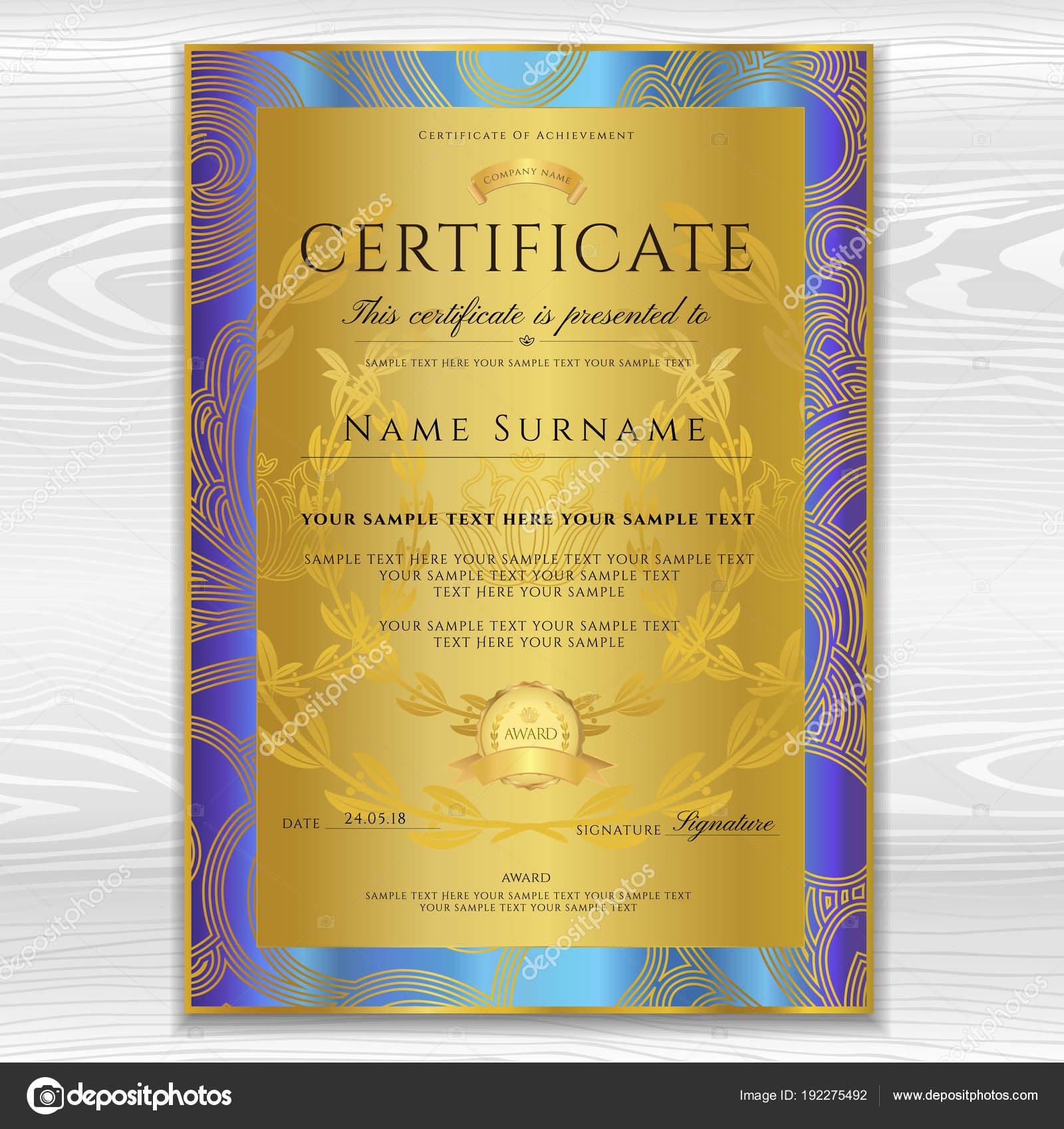 Certificate Diploma Golden Design Template Background Floral