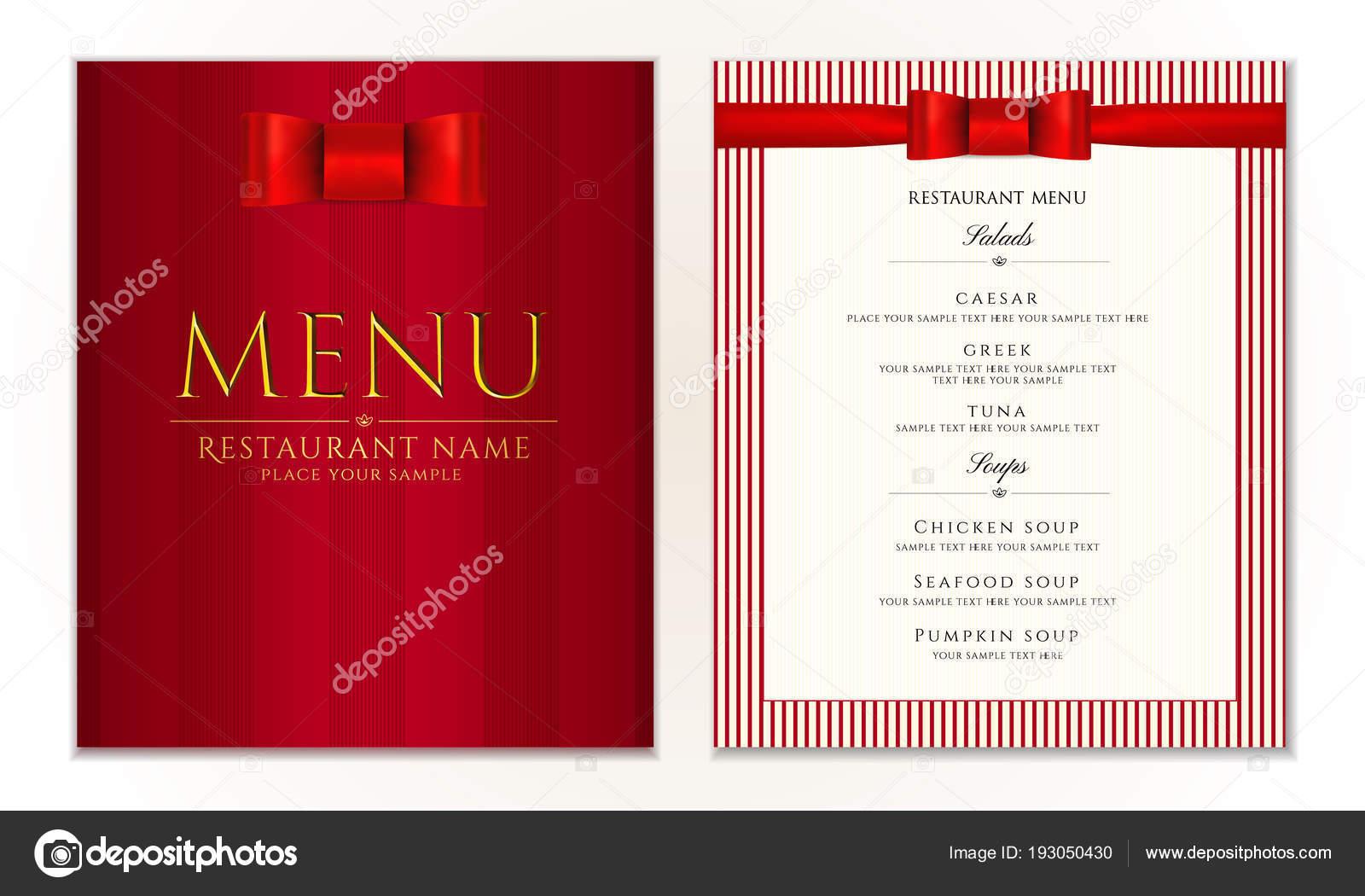 Design Restaurant Menu Template Red Bow Ribbon Strips Elegant Luxe ...