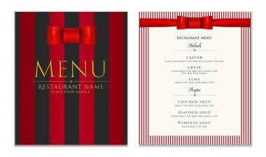 Design Restaurant Menu template with red bow (ribbon) and strips. Elegant luxe cover useful for Cafe Menu, Restaurant Menu, brochure, wedding invitation design