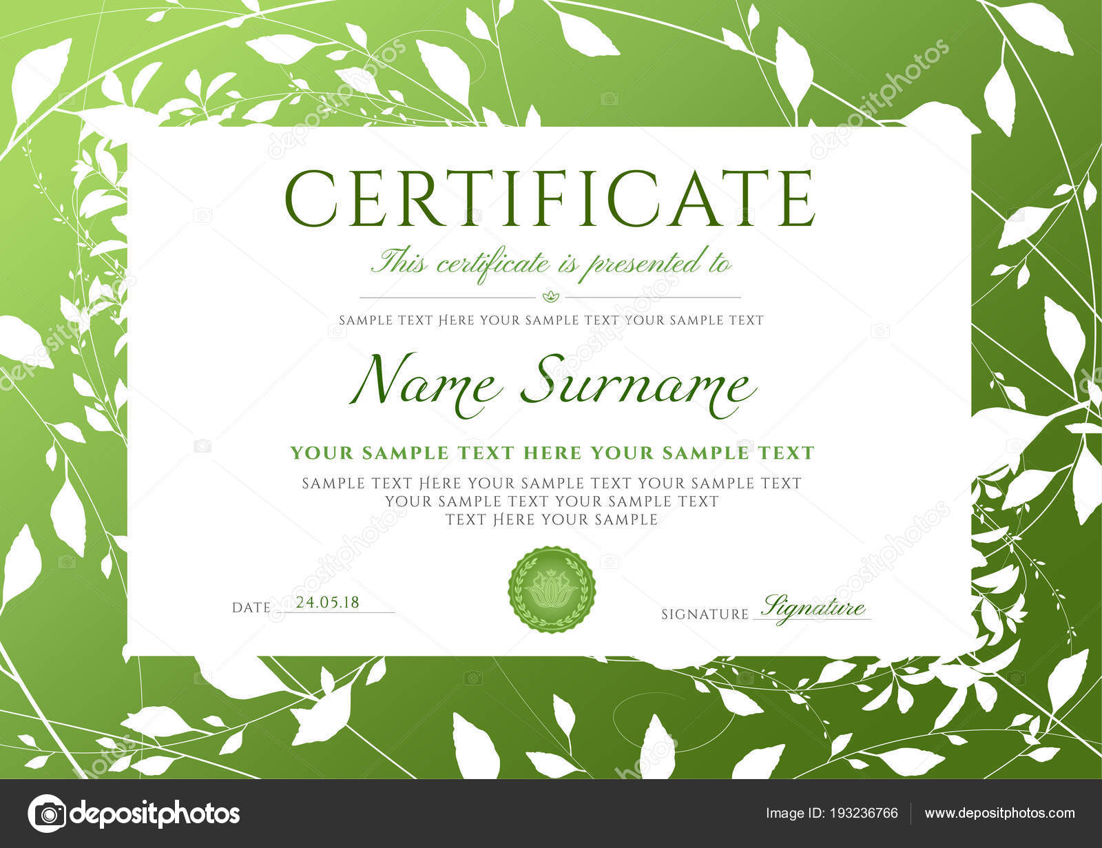Certificate Completion Template Green Floral Pattern Frame Leaves ...