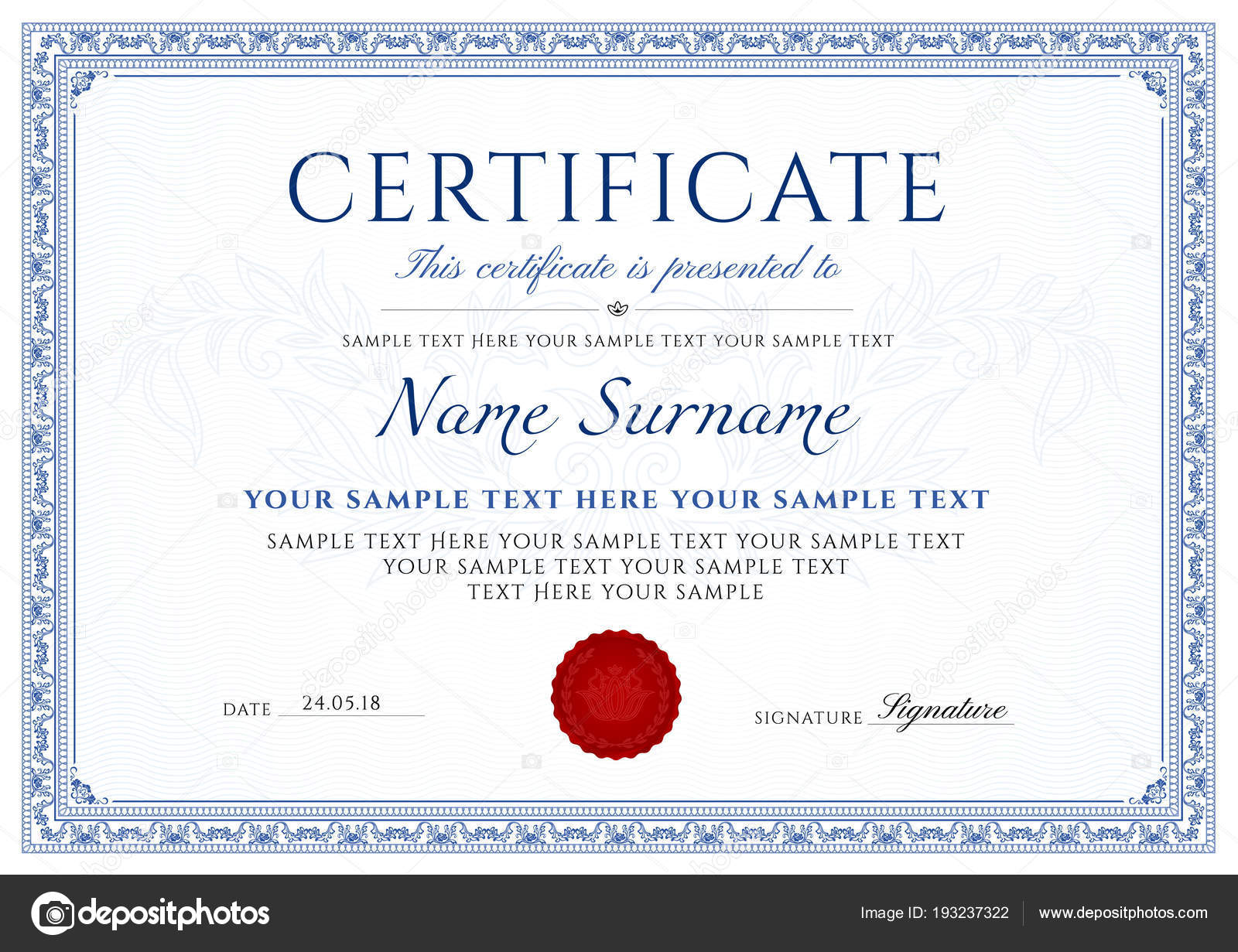 certificate diploma completion design template white background blue