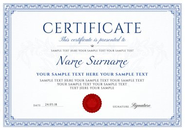 Certificate, Diploma of completion (design template, white background) with blue Frame, Border, light Guilloche pattern (watermark)