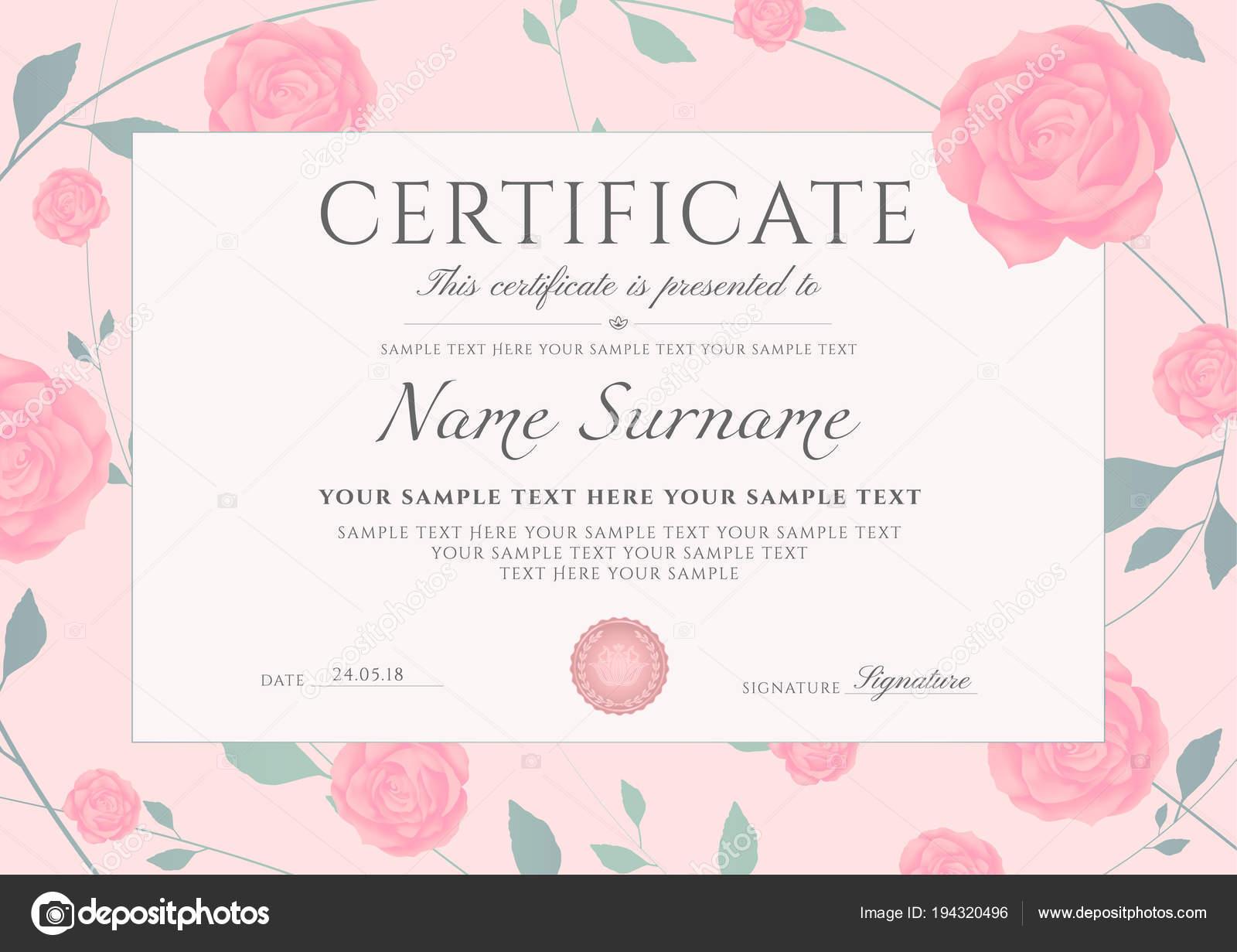 Bescheinigung Über Die Fertigstellung Vorlage Mit Blumen Rosa ...