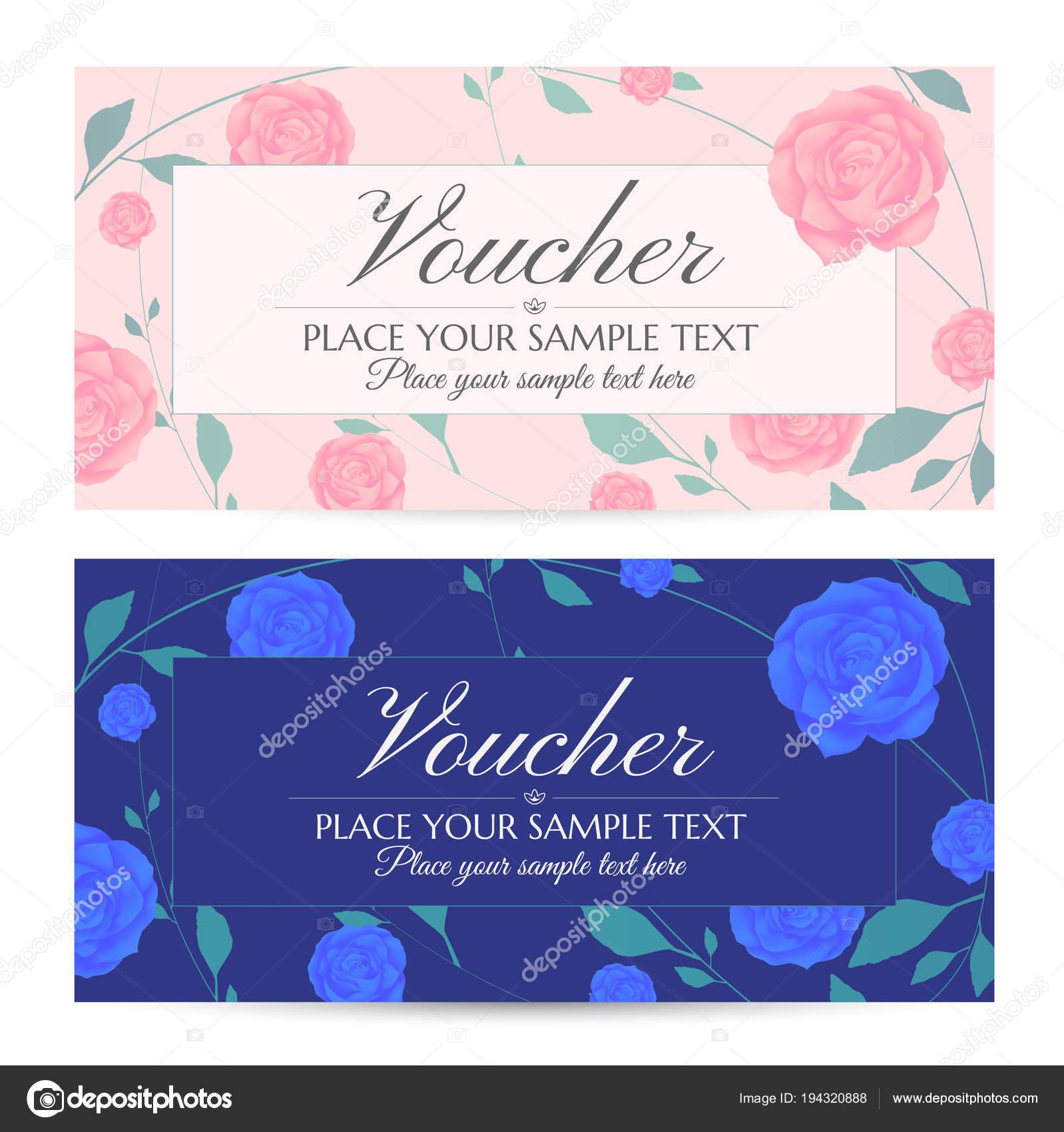 Gutschein Geschenkgutschein Gutschein Vorlage Mit Blumen Blau Rosa ...
