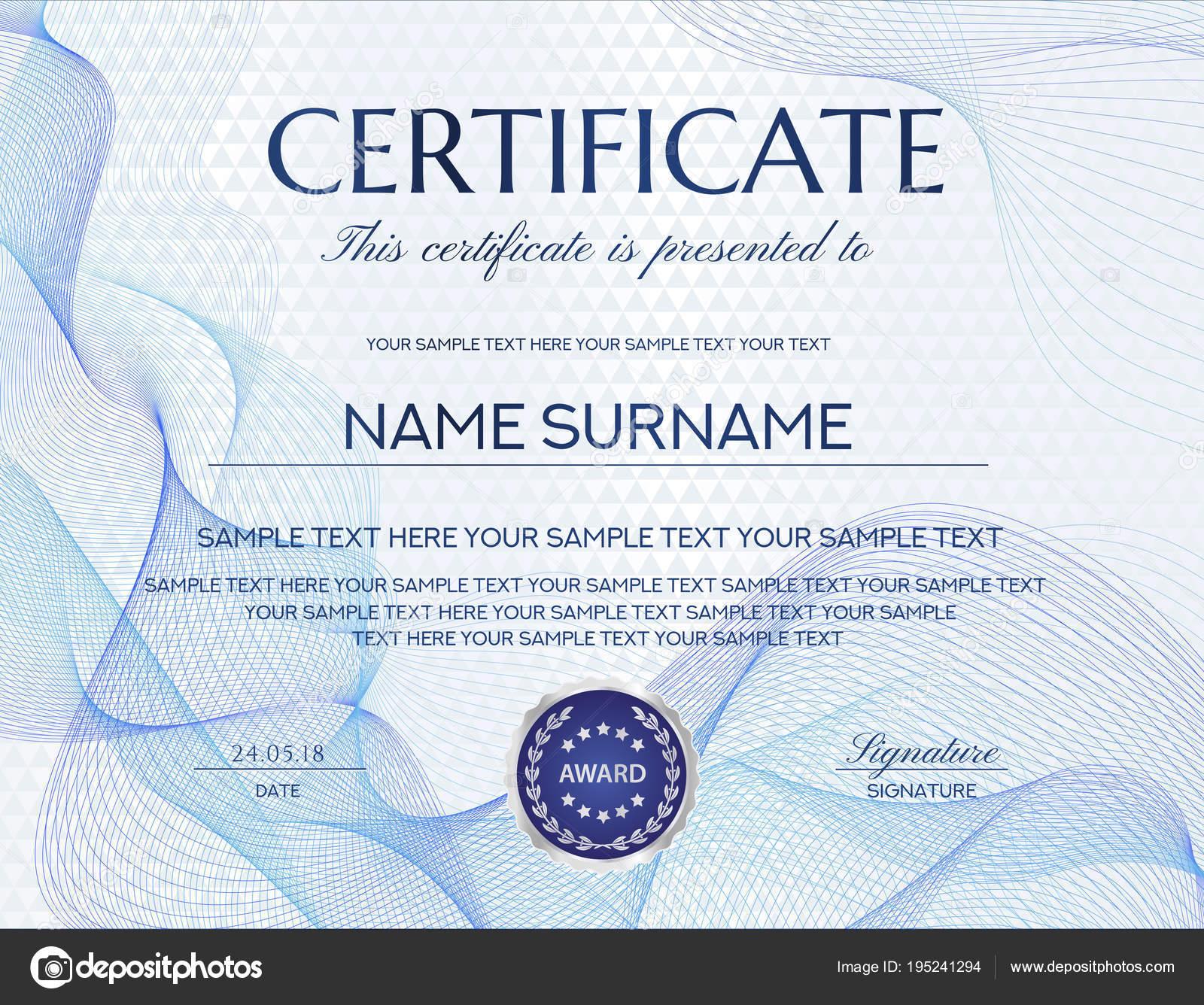 Zertifikat Mit Weißen Abstrakten Hintergrund Design Vorlage Mit ...
