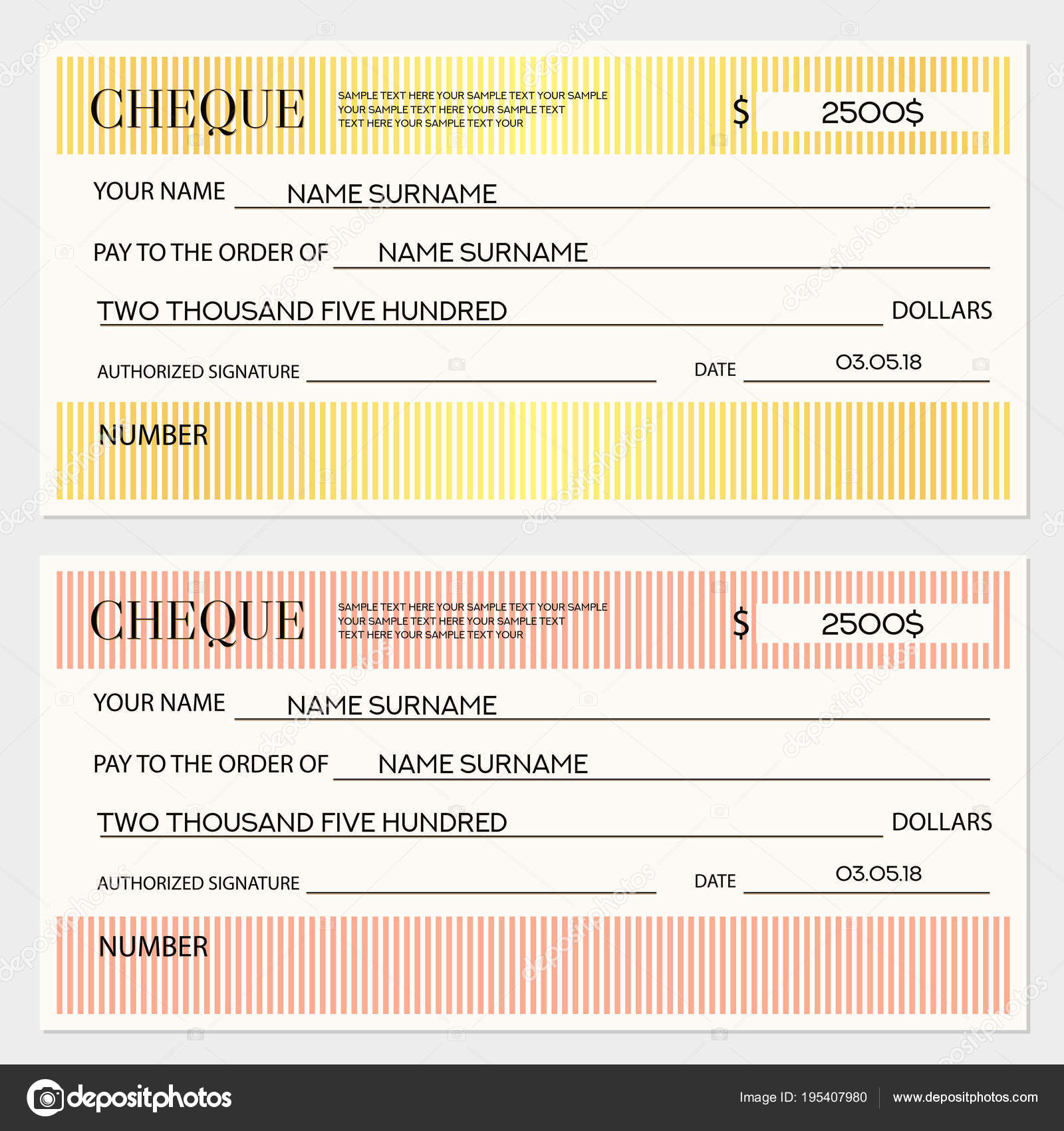 Check Cheque Chequebook Template Lines Pattern Lines Gold Background