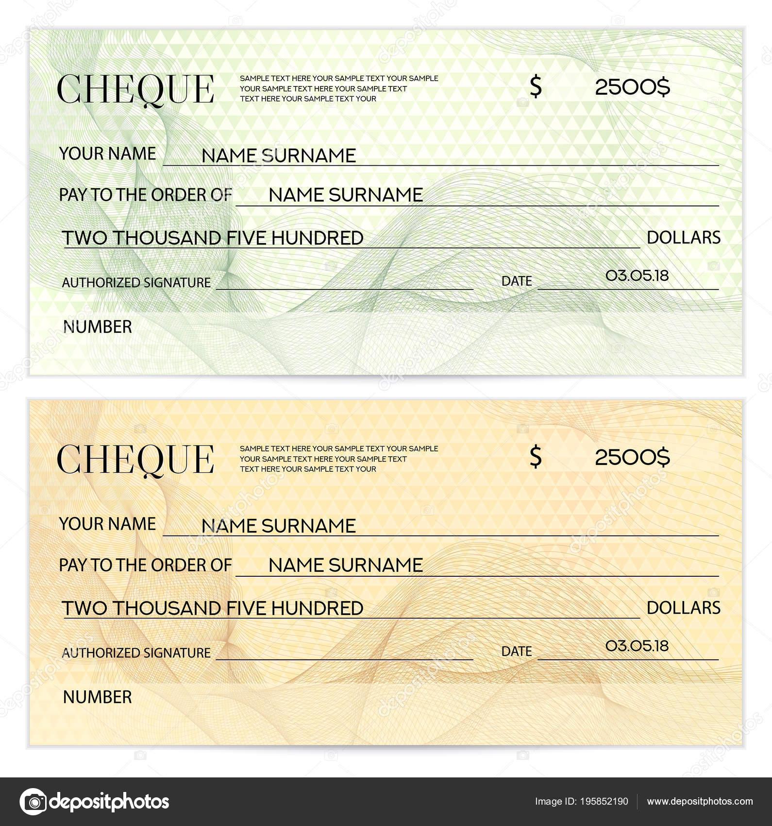 Check Cheque Chequebook Template Guilloche Pattern Watermark ...