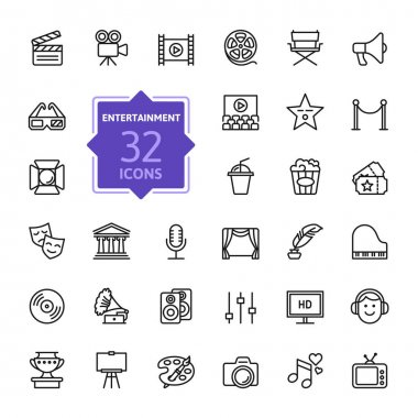 Entertainment icon set - outline icon collection, vector