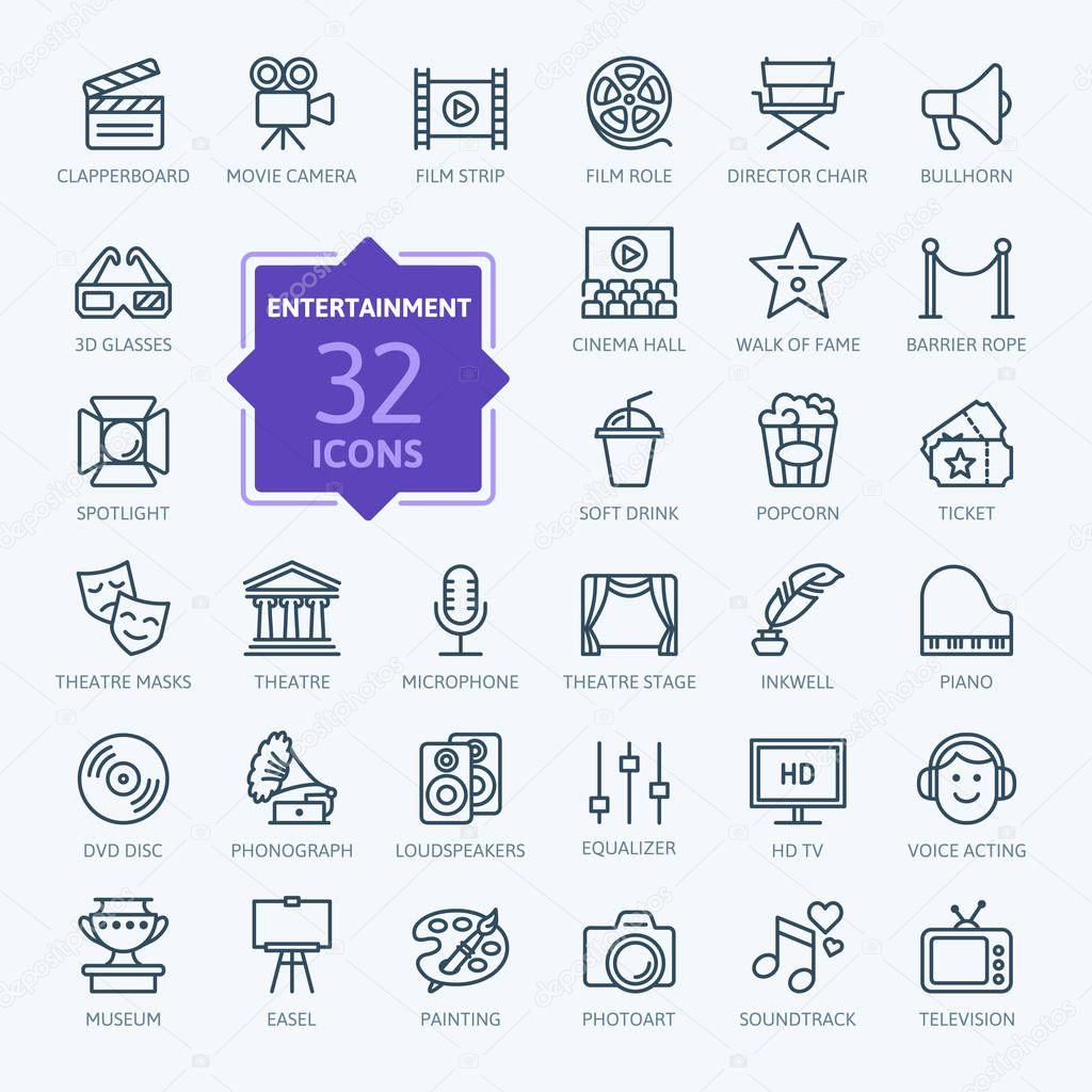 Thin lines web icon collection stock vector
