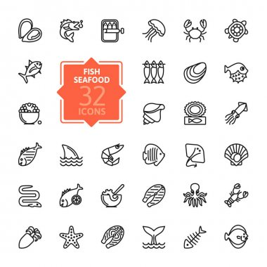 Fish and seafood - outline icon collection, vector