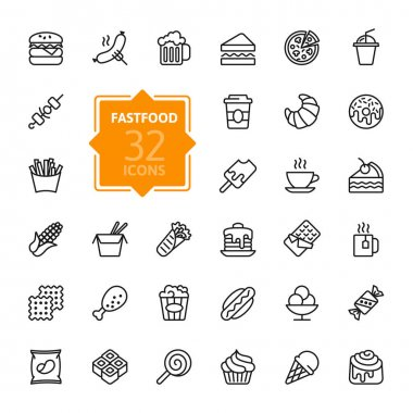 Fastfood - outline web icon set, vector, thin line icons collection stock vector