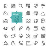 Photo Security - outline web icon set, vector, thin line icons collection