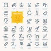 Photo Measuring related web icon set - outline icon set, vector, thin line icons collection