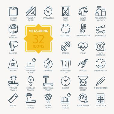 Measuring related web icon set - outline icon set, vector, thin line icons collection clip art vector