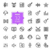 Photo Music web icon set - outline icon set, vector, thin line icons collection