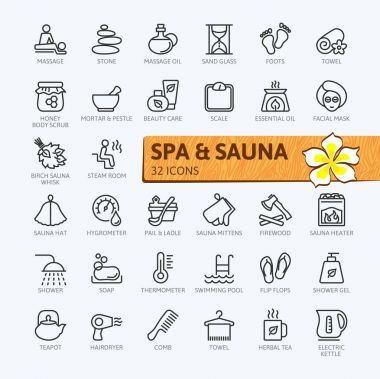 SPA and sauna, steam bath - minimal thin line web icon set. Outline icons collection. Simple vector illustration.
