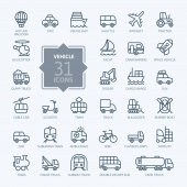 Photo Transport, vehicle and delivery elements - minimal thin line web icon set. Outline icons collection. Simple vector illustration.