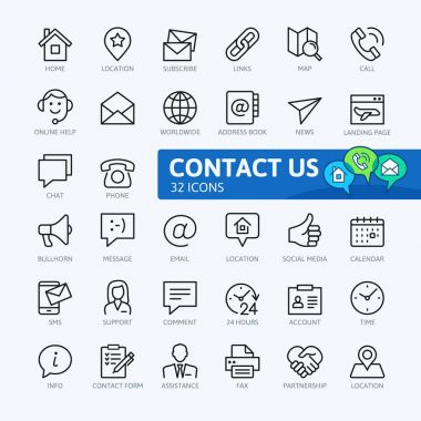Contact us -  minimal thin line web icon set. Outline icons collection. Simple vector illustration. clip art vector