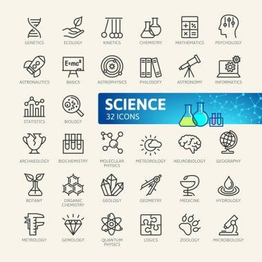 Science, scientific activityelements - minimal thin line web icon set. Outline icons collection. Simple vector illustration. clip art vector