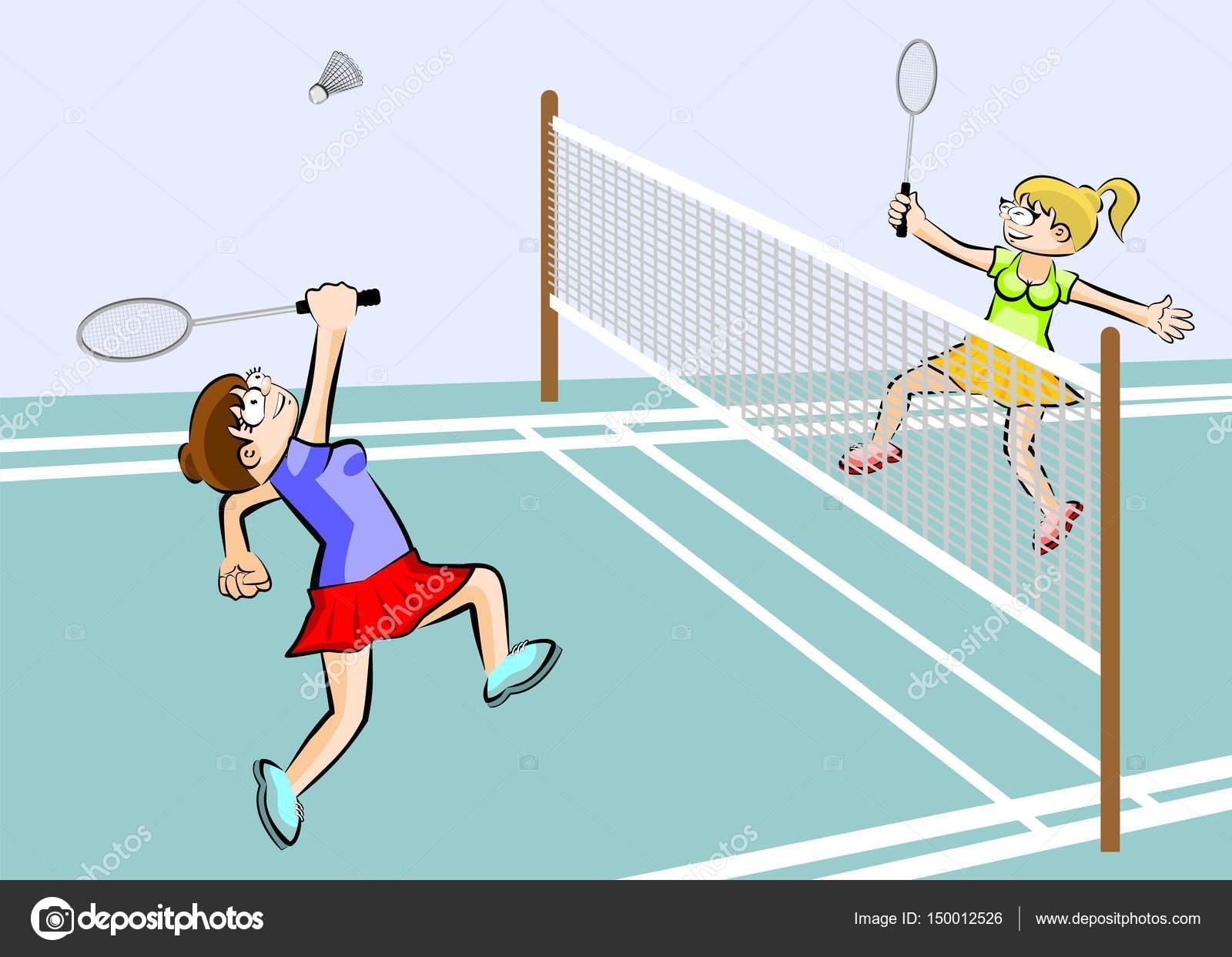 Frauen Spielen Badminton Stockvektor Photoestelar 150012526