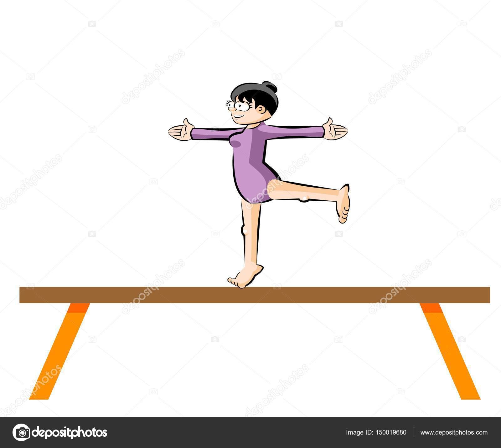 gimnasia femenina en viga de equilibrio vector de stock photoestelar 150019680. Black Bedroom Furniture Sets. Home Design Ideas