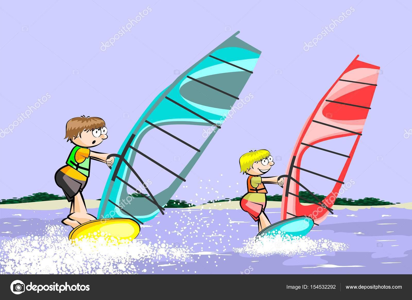 Windsurf Disegno: Planche à Voile Dessin Animé été