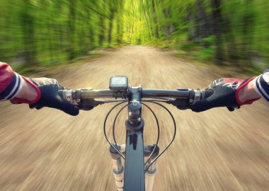 Ride on bicycle on road in summer forest.