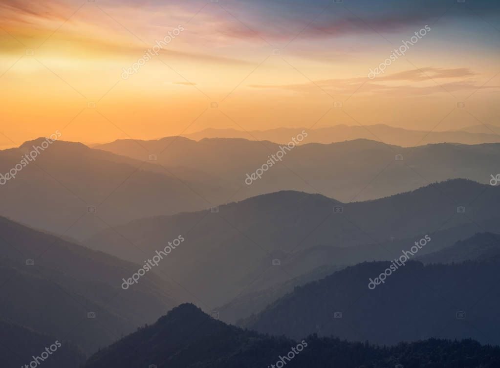 Mountain valley during sunrise