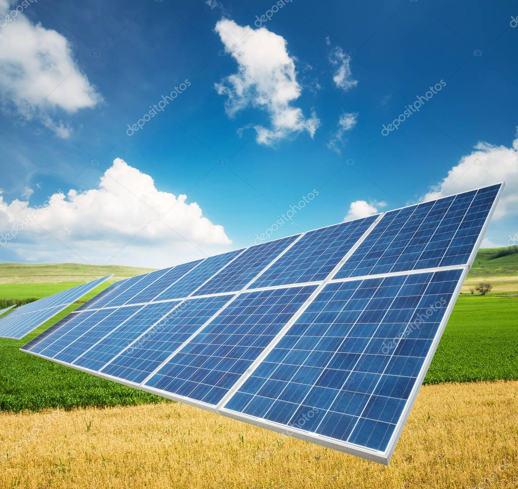 Solar panel on the field.