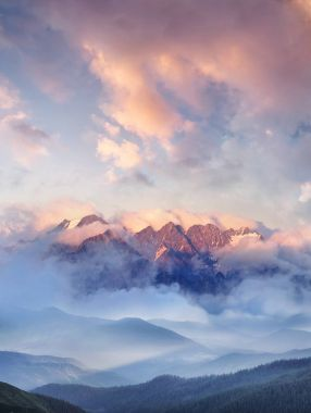 Mountain range in the clouds.
