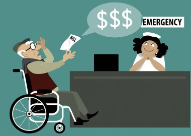 Elderly patient in a wheelchair chocked by a high hospital bill, emergency room reception on the background, EPS 8 vector illustration stock vector
