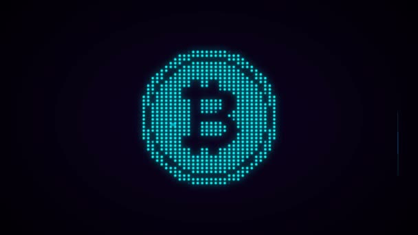 Animation Of Bitcoin Symbol With Glitch Effect In Blue Color
