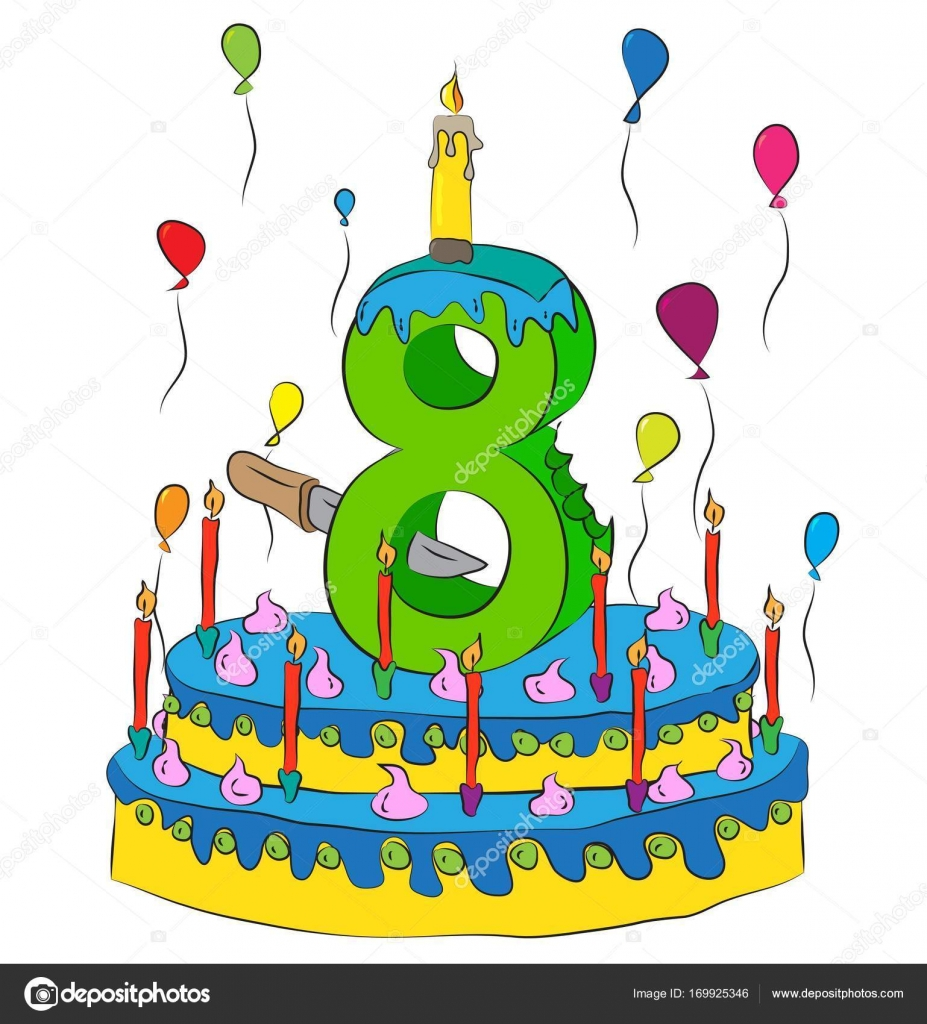 Birthday Cake With Number Eight Candle Celebrating Eighth Year Of Life Colorful Balloons And Chocolate Coating Stock Illustration