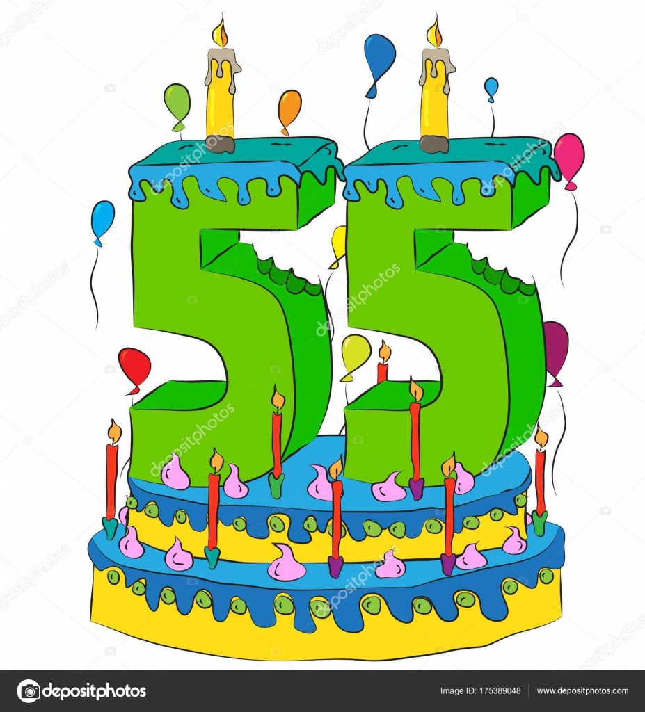 55 Birthday Cake With Number Fifty Five Candle Celebrating Fifth Year Of Life Colorful Balloons And Chocolate Frosting Vector By Fstockluk