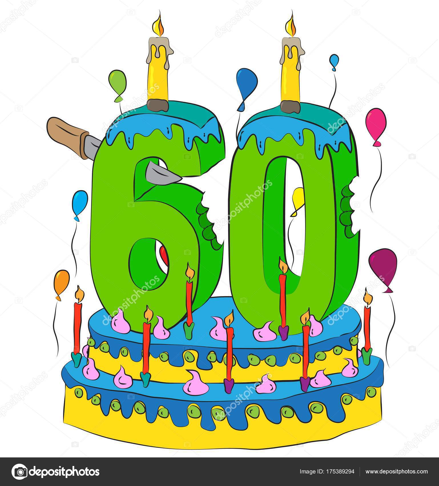 60 Birthday Cake With Number Sixty Candle Celebrating Sixtieth Year Of Life Colorful Balloons And Chocolate Coating Stock Illustration