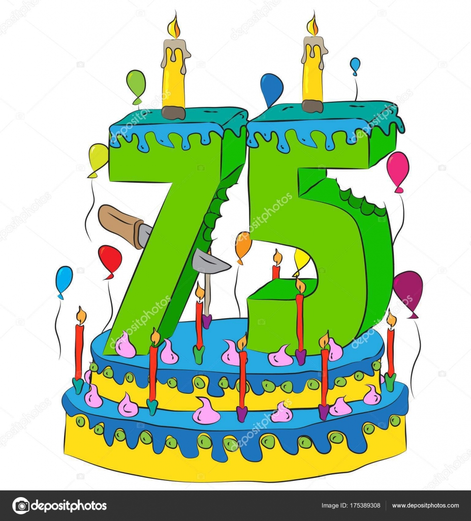 75 Birthday Cake With Number Seventy Five Candle Celebrating Fifth Year Of Life Colorful Balloons And Chocolate Coating Stock Illustration