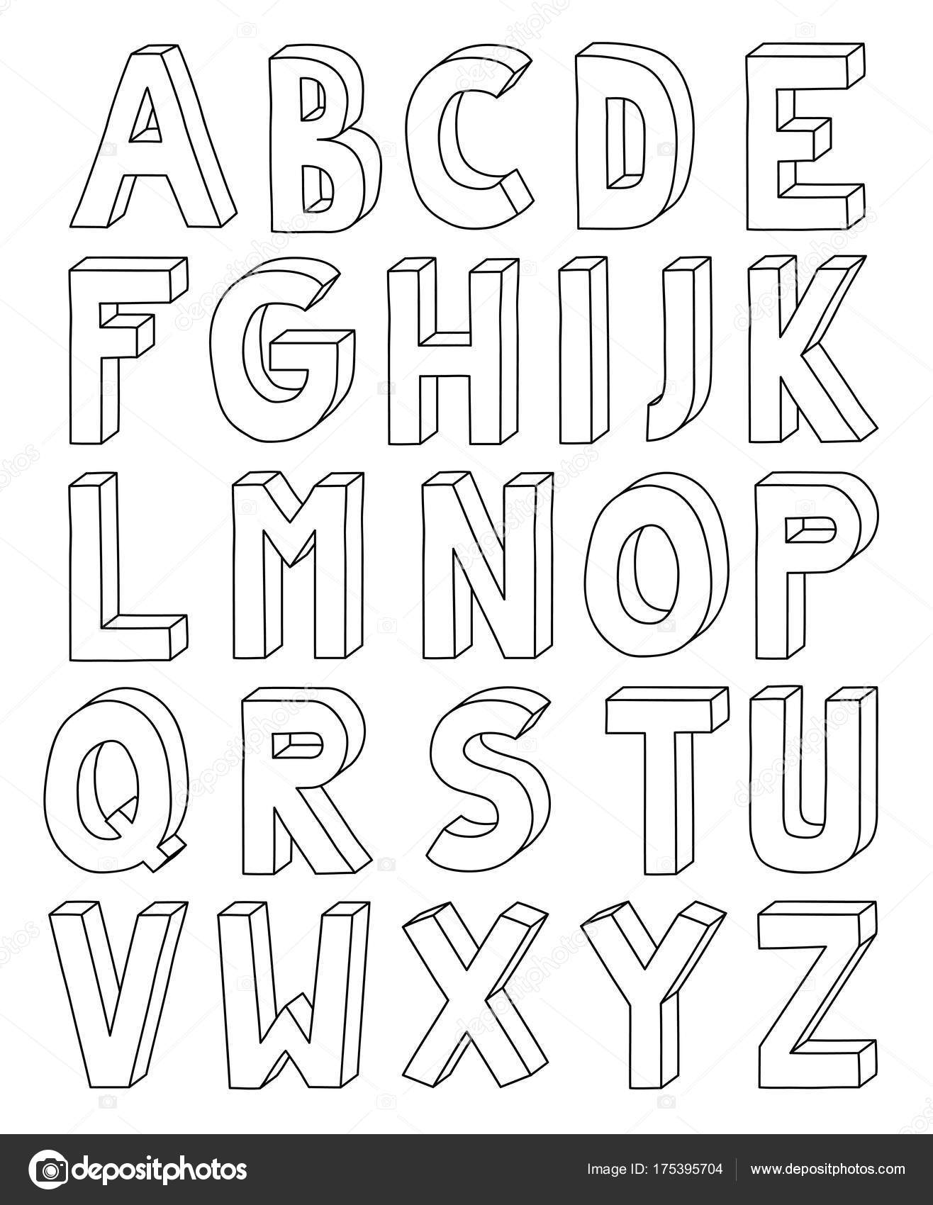3d outline alphabet from letter a to z in a4 sheet stock vector 3d outline alphabet from letter a to z in a4 sheet stock vector spiritdancerdesigns Image collections