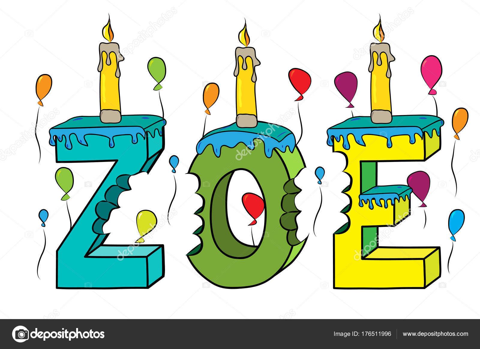 Zoe Prenom Mordu Colore 3d Lettrage Gateau D Anniversaire Avec
