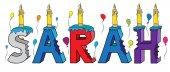 Fotografie Sarah Vorname gebissen bunte 3d Schriftzug Geburtstagstorte mit Kerzen und Luftballons