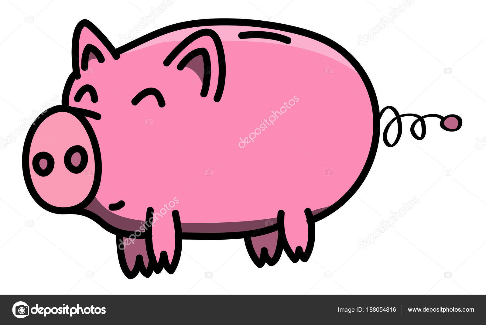 Clean And Shiny >> Hand Drawn Pink Clean Shiny And Happy Fat Piggybank Animal Outline