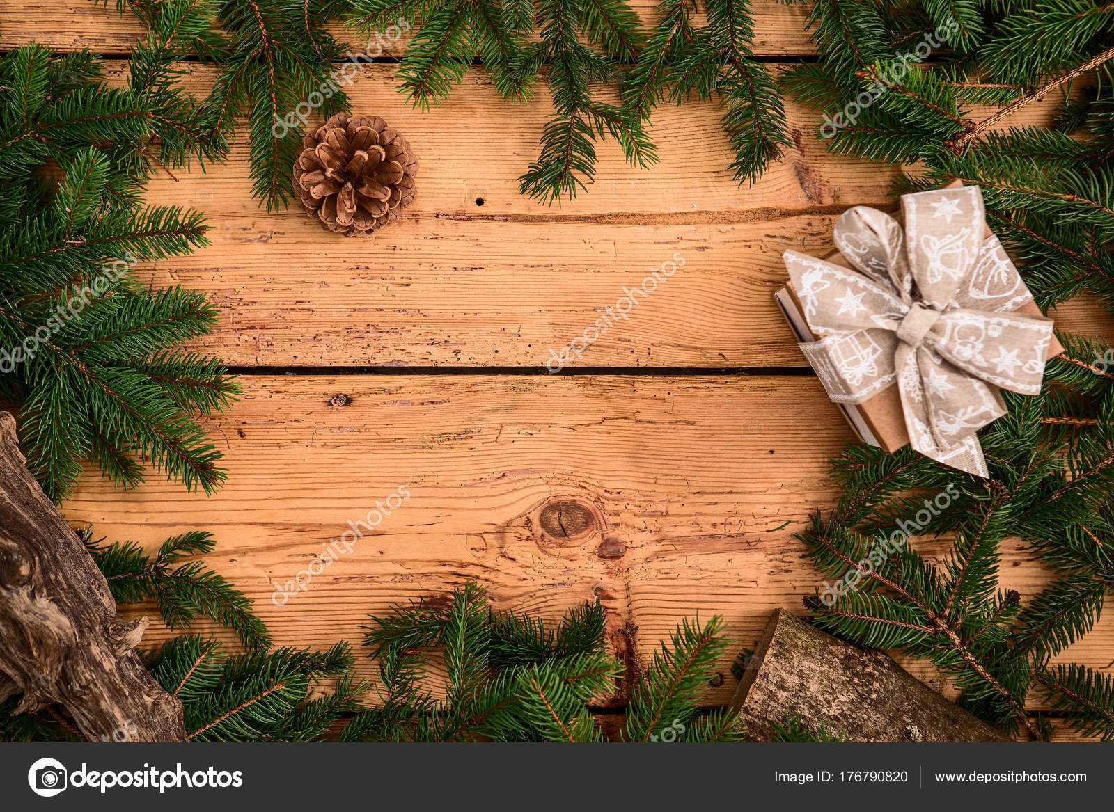 Christmas Spruce Tree Frame Wooden Boards Table Stock Photo