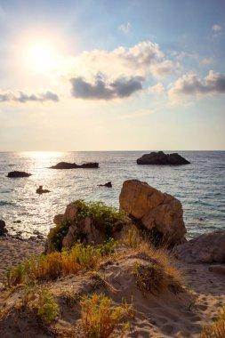 Beautiful seascape, Kathisma beach, west coast of Lefkada island, Greece.