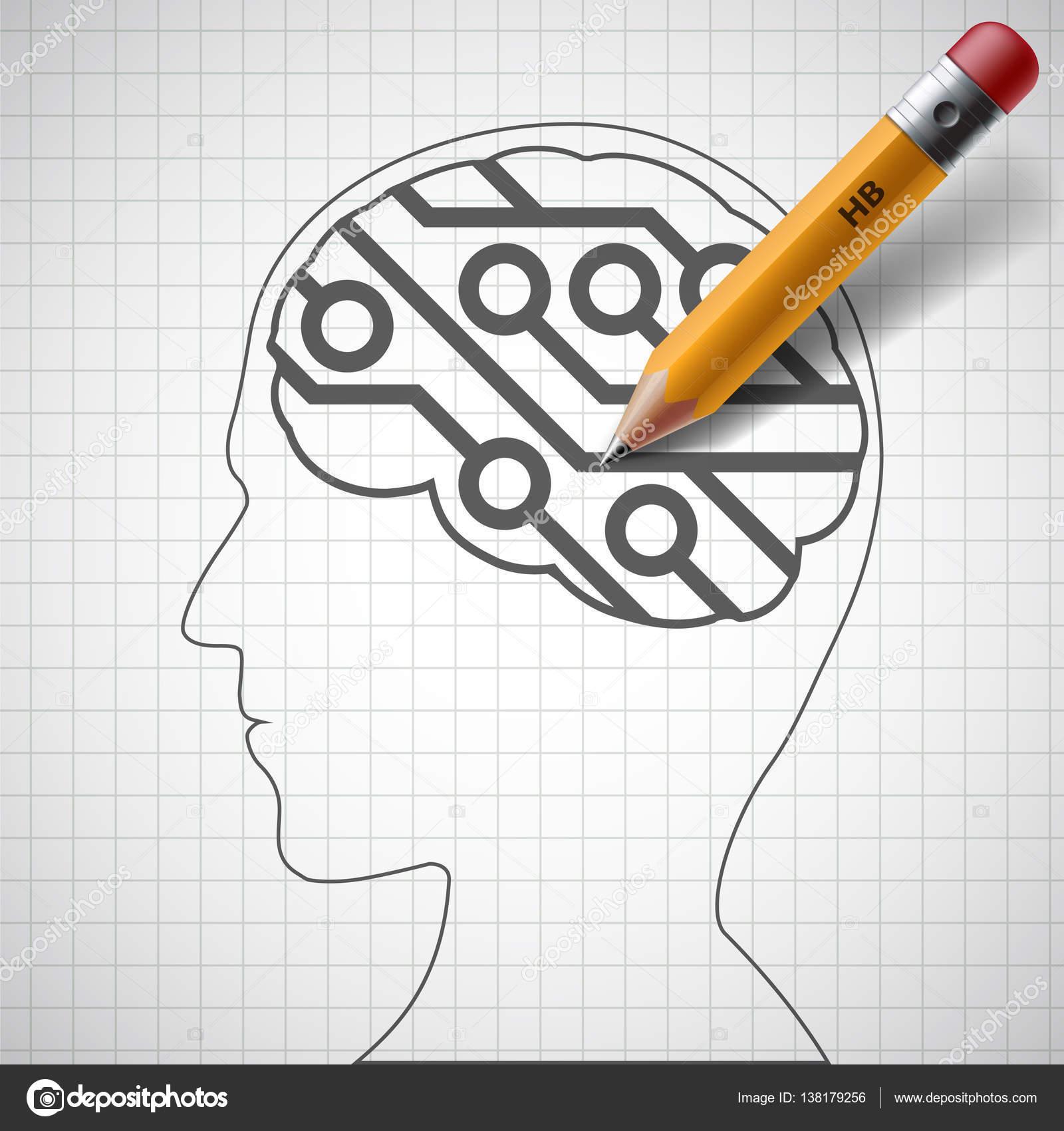 Pencil Drawing In Human Head A Electronic Circuit Stock Photo Draw Circuits