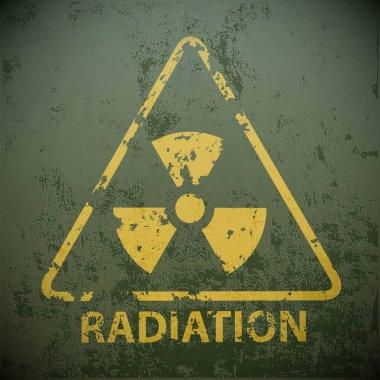 Yellow warning sign for radioactivity
