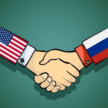 Handshake of two people. Policy between the USA and Russia. Stoc