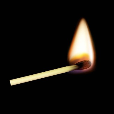 Wooden match on fire. Isolated on a black background. Stock vect