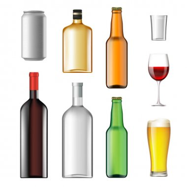 Bottles with alcoholic drinks