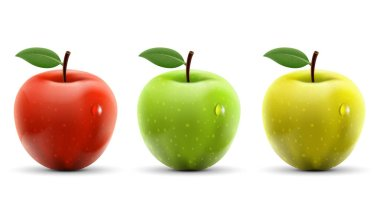 Set of red, yellow and green apples