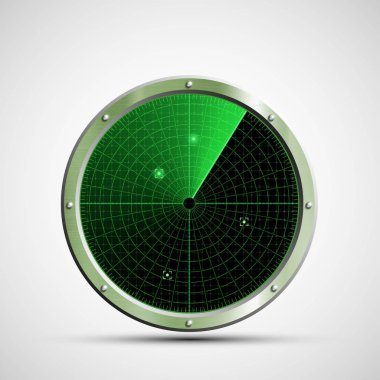 Icon green military radar on the screen. Stock vector illustrati